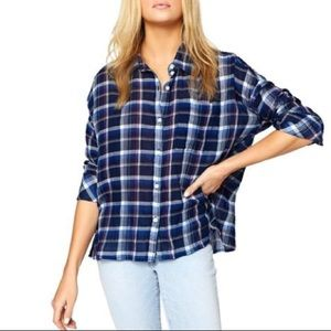 Sanctuary blue plaid oversized button down shirt